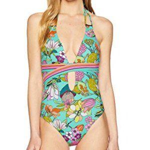 NWT Trina Turk Halter Floral One Piece Swimsuit